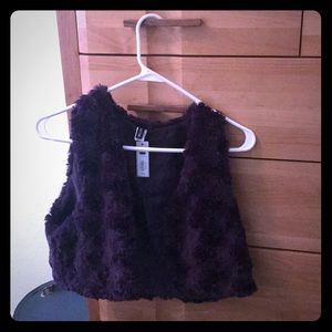 NWT APT 9 Dark Purple cropped faux fur Vest